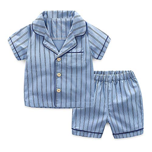 YHXG Boys' Pajama Sets Summer Sleepwear Striped Shirts+ Shorts Blue
