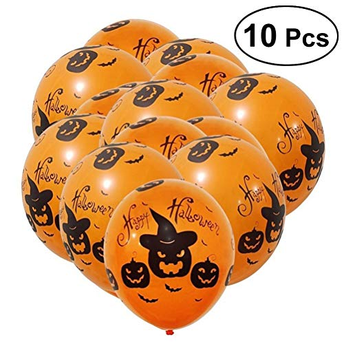 HEALIFTY 10pcs Halloween Balloons Spooky Pumpkin 12inch Latex Round Shape Balloons Party Supplies Decorations