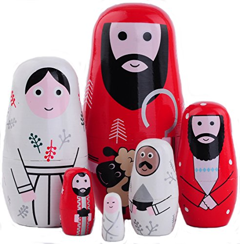 Moonmo - Nesting Doll Holy Family -The Nativity Family Hand Painted Hand Made Wooden Nesting Dolls Matryoshka Nativity Figurines-Set of 6 Dolls Red
