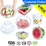 Rolican Silicone Reusable Stretch Lids Foods And Bowls Covers(6 pack)