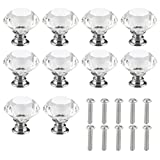 Crystal Glass Knobs - 10 Pieces of Clear Diamond Shape Pull Handles for Drawers, Cabinets, Dressers in Kitchen, Bedroom, Living Room, 30mm