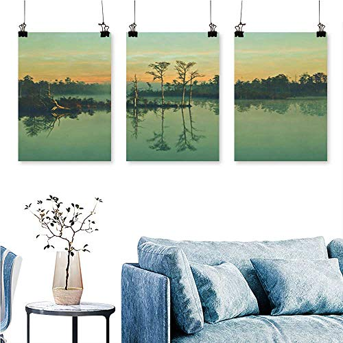 SCOCICI1588 3pcs Triptych A Quiet Reflection in a Fairyland of Lake Water Art Home Decor No Frame 16 INCH X 30 INCH X 3PCS from SCOCICI1588