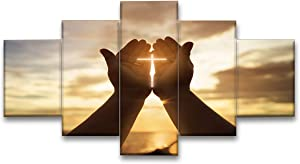 Fu-Keivy Christian Wall Picture Cross in Hands Canvas Wall Decor 5 Piece for Living Room Church Home Jesus Crosses Wall Art Gallery Wrapped Ready to Hang Wooden Framed
