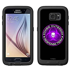 Skin Decal for LifeProof FRE Samsung Galaxy S6 Case - Zombie OutBreak Response Team Purple on Black