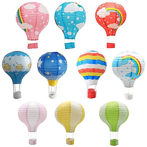 Hot Air Balloon Paper Lantern Chinese Japanese Paper Lamps Party Paper Lanterns Lantern Ball Lamps Decorations Christmas String Lights Rainbow Mixed Colors 13.8'', Set of 10