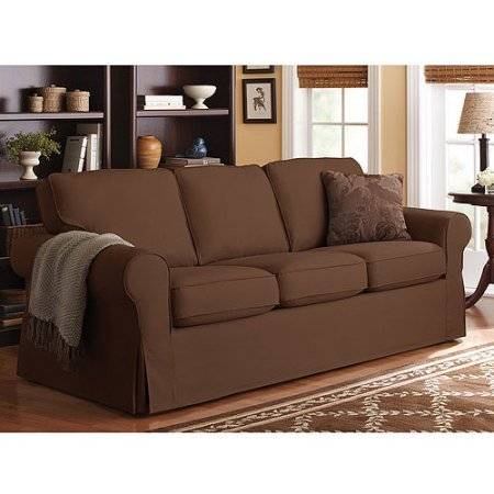 Durable and Easy to Remove Slip Cover Sofa in Chocolate