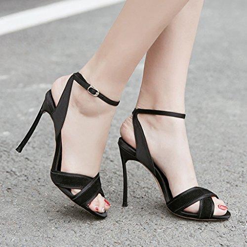 8cm Sandalias Negro Una Femeninas Tacón Alto Wild De Cruz Con Hebilla qrOzCqwx