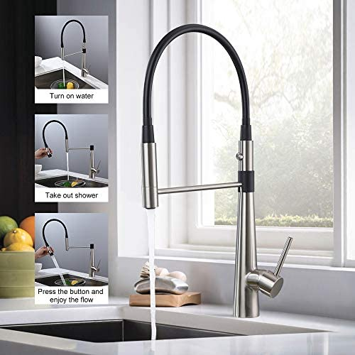 BULUXE Dual Function Kitchen Faucet, Contemporary Commercial Design Single Handle with Pull-out Sprayer Kitchen Faucet in Solid Brass Brushed Nickel