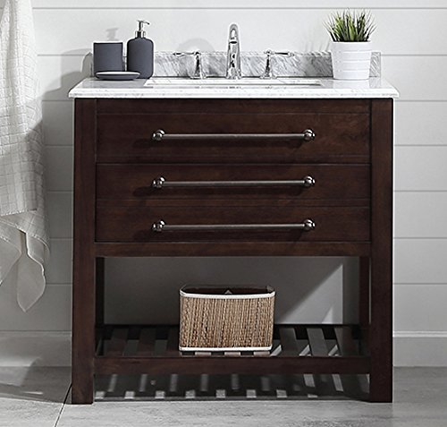 Ove Decors Harry 36 Bathroom Single Vanity in Java Brown with Carrara Marble Countertop, 36-Inch by 22-Inch