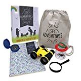 ASPEN ADVENTURES Kids Outdoor Nature Explorer Kit — Homeschool Toys & STEM Learning Resource + BONUS Nature Activities Printable — Binoculars, Compass, Bug Magnification House, Magnifying Glass, Bag