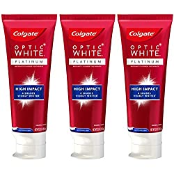 Colgate Optic White High Impact White Whitening Toothpaste, Travel Friendly - 3 Ounce (3 Pack)
