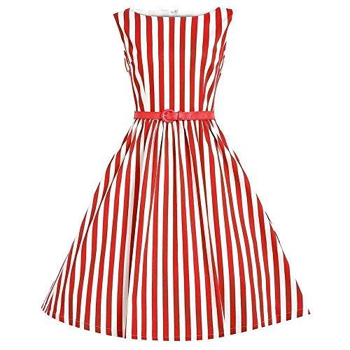 MisShow® Damen 50er Vintage Kleid Rockabilly Partykleid Cocktailkleid Pin Up Gr.S~4XL Rot