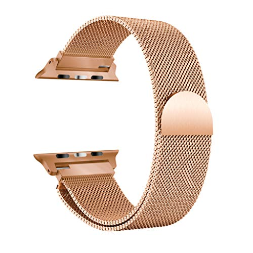 ZTY66 Milanese Luxury Stainless Steel Magnetic Watch Band for Apple Watch Series 4 44MM (Rose Gold)