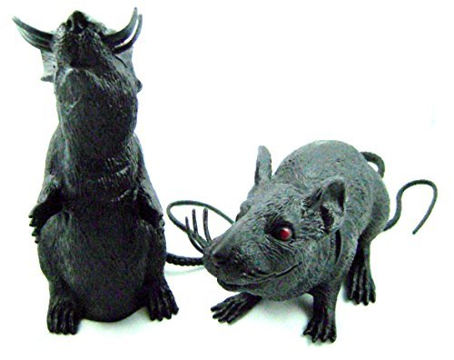 Spooky Halloween Plastic Squeaking Rats 8 - 9 Inches Tall