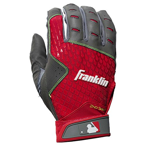 Franklin Sports 2nd-Skinz Batting Gloves Gray/Red Adult X-Large by Franklin Sports