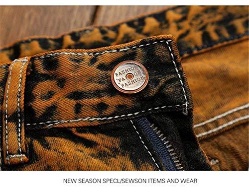Pantaloni Casual 170 Etero Uomini Abbigliamento Adelina Jeans Distintivo 29 Dimagriscono Patch Denim Fori Retrò Size Torn Cher Gelb color Dei 32l 4S06xSTwq