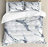 Marble Bedding Sets, Antique Marble Textured Ocean Style Organic Granite Rock Formation Art Print, 4 Piece Duvet Cover Set Quilt Bedspread for Childrens/Kids/Teens/Adults, Cadet Blue White,Twin Size