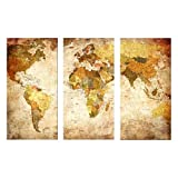 Luxry 3 Pieces Modern Oil Painting On Canvas With World Map Homd Decoration No Frame