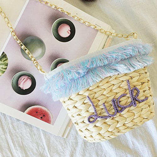 Bag Holiday Bag Letters Summer Straw Back Tassels Slung Beach Sweet GAOQQ Packs Ptawvq