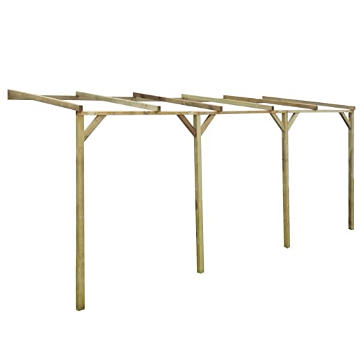 Anself lean-to Pergola de madera 2 x 5 x 2, 2 m: Amazon.es: Jardín