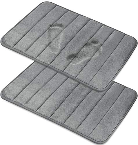 Magnificent [2-Pack] Memory Foam Bath Mat - Non-Slip Back, Coral Fleece Softness, Highly Absorbent [20X32 Inches, Gray] (Memory Bath Foam Mat)