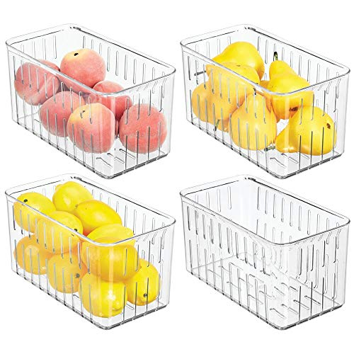mDesign Plastic Kitchen Refrigerator Produce Storage Organizer Bin with Open Vents for Air Circulation - Food Container for Fruit, Vegetables, Lettuce, Cheese, Fresh Herbs, Snacks - M, 4 Pack - Clear