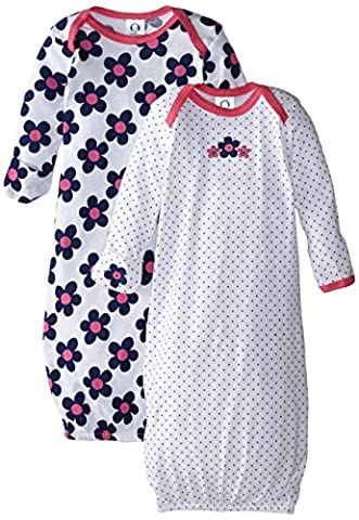 Gerber Baby-Girls Lap Shoulder Gown, Flowers, 0-6 Months (Pack of 2) (0 3 Months Baby Girl)