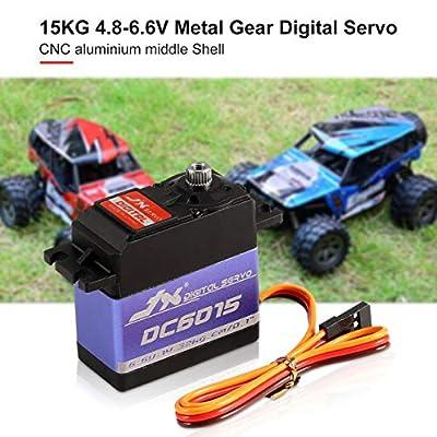 JX DC6015 4.8-6.6V 15KG Metal Gear 0.10 Sec Large Torque Digital Servo for RC Car Robot Airplane Aircraft Accessories: Toys & Games