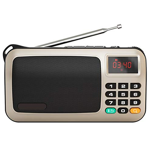 Love of Life Home Audio Radio,Portable FM Radio Compact Stereo Travel Speaker MP3 Music Player,Support TF Card, Easy to Insert iPod/Mobile Phone/Laptop Outdoor Old Man Audio Radio,Gold