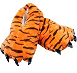 EcoOnesie Unisex Adult Animal Plush Paw Claw Slippers Tiger Cosplay Costume Shoes Size Medium