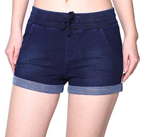Women's Juniors Stretchy Mid-Rise Shorts Denim Jeans Fit Drawstring Short