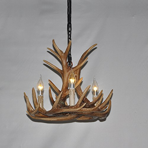 EFFORTINC Resin Antler Chandeliers 3 Light 17.2'' Diameter X 14.5'' Tall with 4 Feet Matching Chain(Bulbs Not Included)