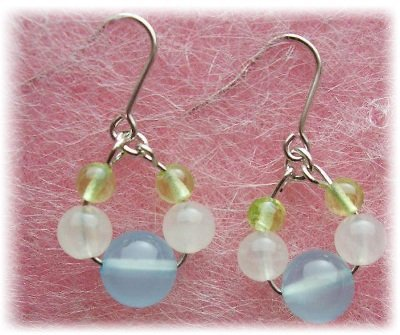 Peridot & Rose Quartz & Chalcedony , Pierced Earring Gemstones ,Titanium Hook