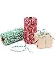 Benvo Pack of 2 Green White Cotton Twine and Red White Packing String Christmas Xmas Twine Rope Ribbon Cord for Baking, Butchers, DIY Crafts Holiday Gift Wrapping Ornaments Hanging 656 ft Long