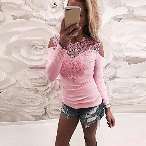 Donna Pizzo Eleganti Primavera Girocollo Casuali T Tops Puro Slim Camicette Pink Shirt Splicing Ragazza Chic Abbigliamento Fit Colore Manica Trasparente Magliette Lunga BxwdBf
