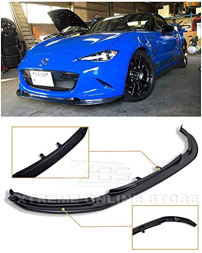(Extreme Online Store for 15-Up Mazda Miata MX-5 ND JDM Leg Sport Style Fiberglass Primer Black Front Bumper Lower Lip Splitter)