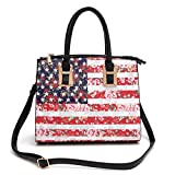 American Flag Top Handle Bag- Floral Rose Satchel Zip Top Shoulder Tote