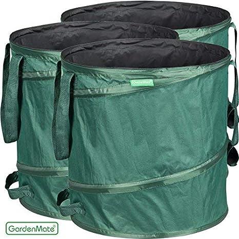 GardenMate Oxford 600D - Bolsa de Basura de jardín, 85 lx 3 Unidades, Color Verde