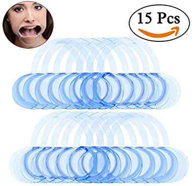 Bassion 15 Pcs Dental Cheek Retractor C-Shape Speak Out Game Mouth Opener, Teeth Whitening Intraoral Cheek Lip Retractor for Watch Ya Mouth and Adult Fun Games, Size M
