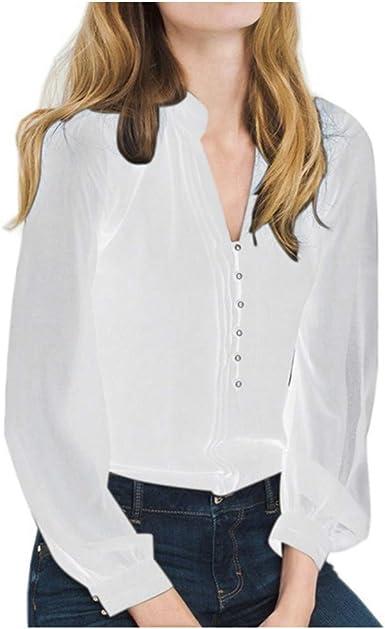beautyjourney Camisa de Manga Larga Blusa Elegante Mujer Color Liso Botones Camisas de Manga Larga con Cuello en V Camisetas Sueltas Casuales Tops: Amazon.es: Ropa y accesorios