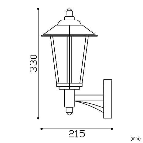 Biard Cannes Farol Aplique Tradicional para Iluminación de Exterior - Acero Negro - Modelo Clásico - Ideal para Patio, Jardín y Terraza (E27, ...