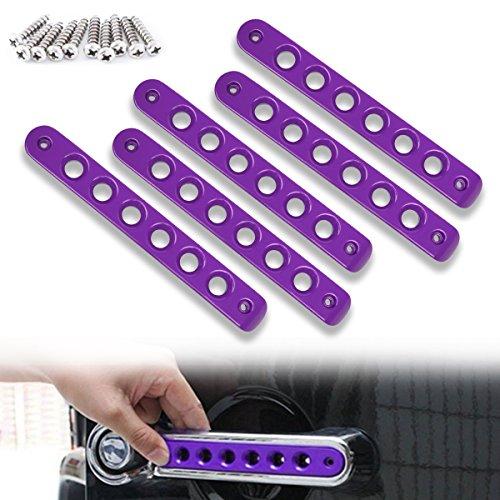 Opall Front Door & Back Door Aluminum Grab Handle Cover For 2007-2018 Jeep Wrangler JK & Unlimited 4 Door 5pcs/set (Purple)
