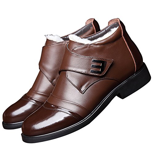 ZLY Men's Brown Leather Dress Formal Casual Shoes Belt Ankle Boots Size 12 - Leather Formal Ankle Boot