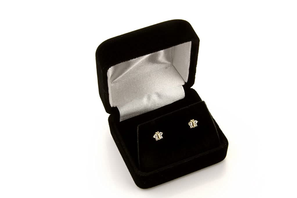 14k Yellow Gold Flower CZ Stud Earrings with Screwback