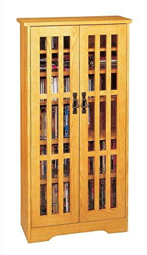 Mission Media Storage Oak (Leslie Dame M-371 High-Capacity Inlaid Glass Mission Style Multimedia Storage Cabinet, Oak)