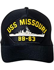 Artisan Owl United States Navy USS Missouri BB-63 Battleship Emblem Patch Hat Navy Blue Baseball Cap