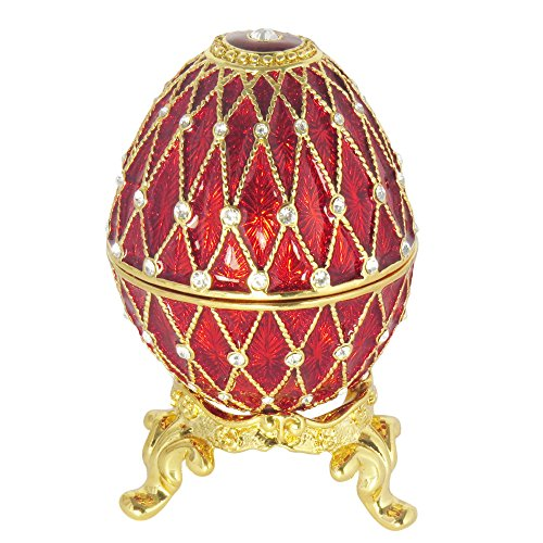 Gifts Faberge Eggs - Burgundy Russian Faberge Style Egg made with Swarovski Crystal Proposal Wedding Jewelry Ring Holder Box