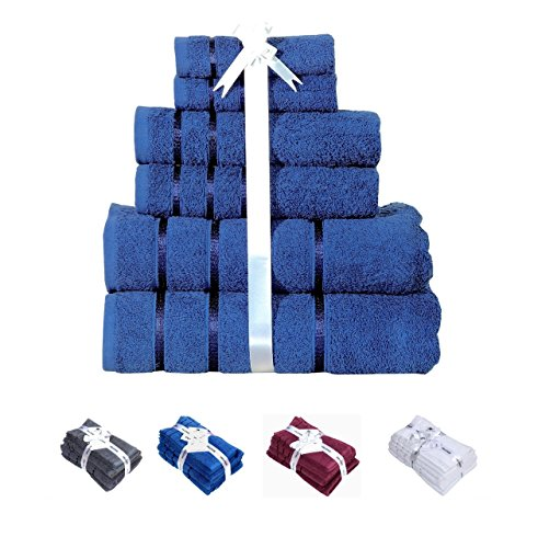 600 GSM Ultra Soft 100% Cotton 6 Piece Bath Towel Set (BLUE); 2 Bath Towels, 2 Hand Towels, 2 Washcloths, Long-staple Cotton,Spa Hotel Quality, Super Absorbent, Machine Washable by HILLFAIR (Towel Sets For Cheap)