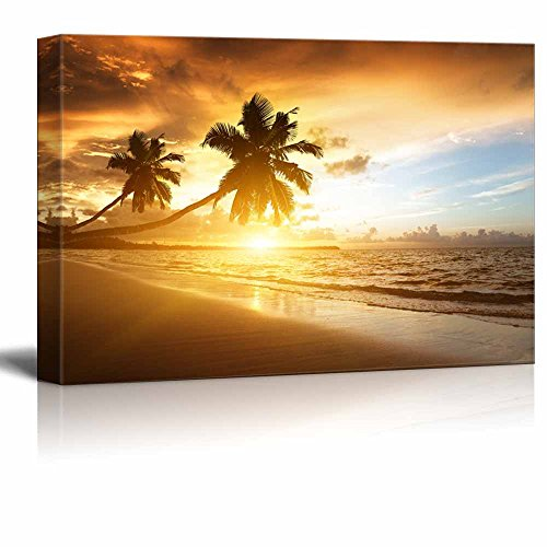 Sunset on the Beach with Palm Trees of Caribbean Sea Wall Decor