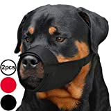 CollarDirect Adjustable Dog Muzzle for Small Medium Large Dogs Set of 2PCS Soft Breathable Nylon Safety Dog Mouth Cover Anti Biting Barking, Pet Muzzles for Dogs Black Red (L/XL, 2 Black)